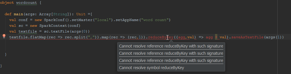 Cannot Resolve Reducebykey With Such Signature Apache Spark