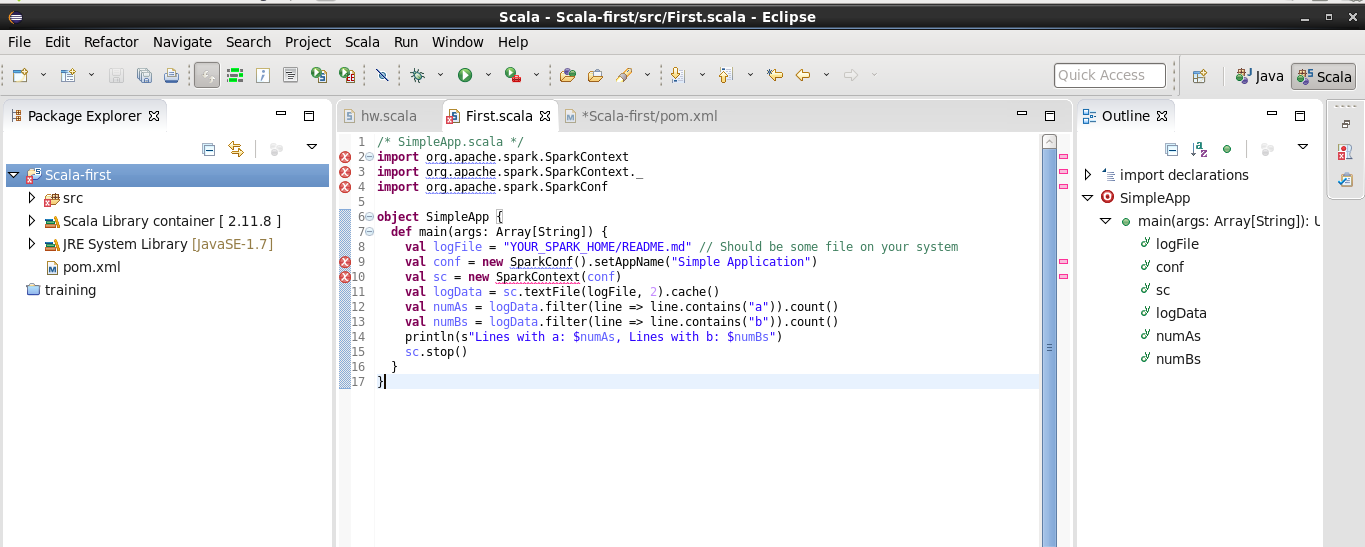 Getting error while running scala on my eclipse in cloudera