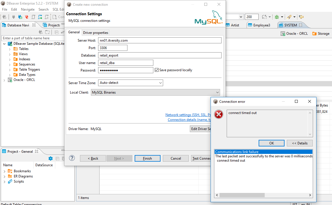 Cannot connect labs MySQL tables from DBeaver - bigdata-labs