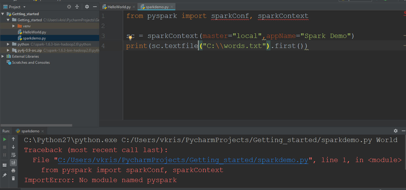 Unable to integrate pycharm and Spark on Windows 10 - Technical
