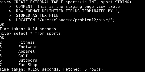 Creating hive table from hdfs data not successful, can